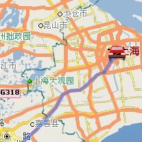 上海市至竞博国际娱乐自驾车行车路线(动画演示)